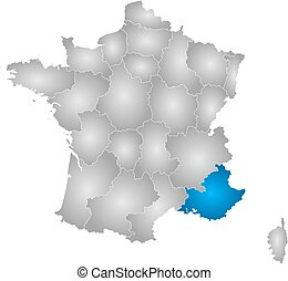Map - France, Provence-Alpes-Cote dAzur - Map of France with...