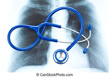 Stethoscope and X-ray. Health.