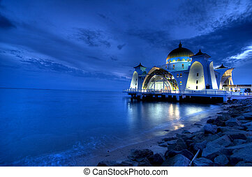 mosque - selat mosque on the sea in melaka,malaysia