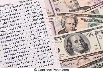 US dollars bills and savings - Many dollars bills and...