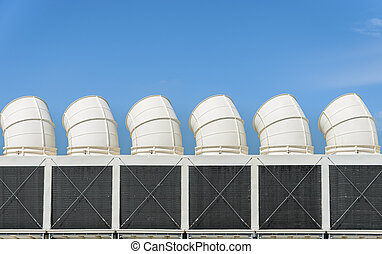 Industrial cooling towers or air cooled chillers against...