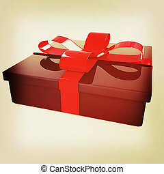 Gifts with ribbon. 3D illustration. Vintage style.