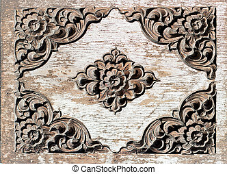 wood craft Thai pattern style for background