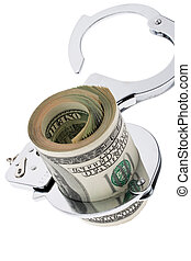 U.S. dollars banknotes with handcuffs - Many dollars bills...