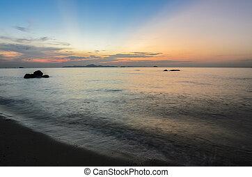 Colorful beach sunset skyline - Beach sunset skyline...