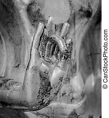 Hand of the buddha image. Black and white color
