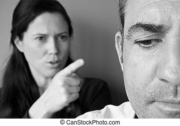 Woman blaming her husband - Portrait of woman blaming her...