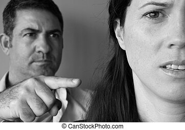 Man blaming his wife - Portrait of a man blaming his wife....