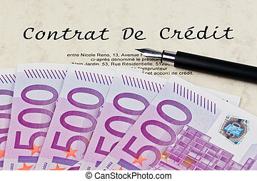 Euro bank notes and credit agreement French - Many Euro bank...