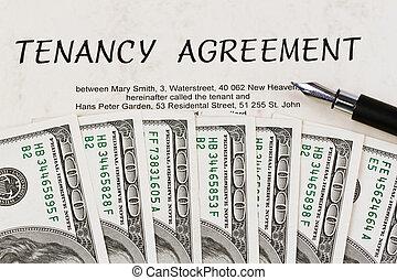 U.S. dollars bills and English lease