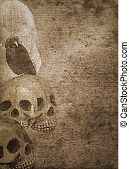 Scary halloween background with skulls - Grunge scary...