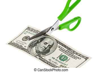 U.S. dollars bills and scissors