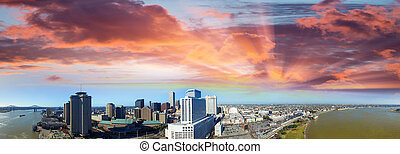 Aerial view of New Orleans skyline at sunset - Louisiana.