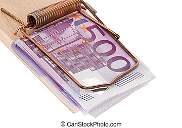 Euro bank notes in a mousetrap - Many Euro notes in a...