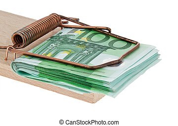 Euro bank notes in a mousetrap. - Many Euro notes in a...