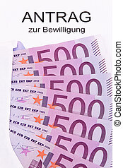 Euro notes and application - Many euro notes and application