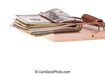 U.S. dollars bills in a mousetrap - Many dollars bills in a...