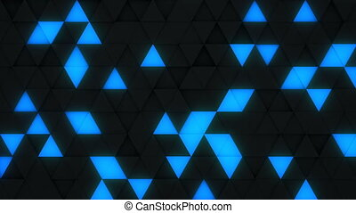 Blue and black triangles extruding 3D render loopable - Blue...