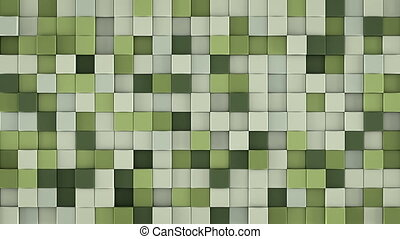 Wall of gentle green cubes 3D render loopable animation -...