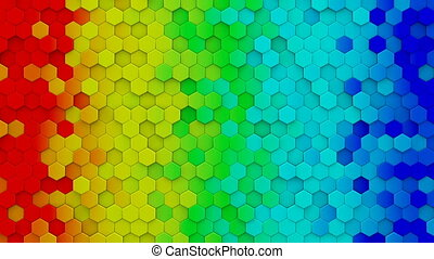 Colorful rainbow hexagons mosaic 3D render loopable...