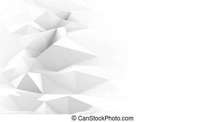 White polygonal surface waving seamles loop 3D render -...