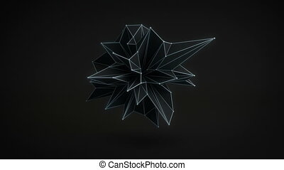 Abstract black shape rotating 3D render. Loop - Abstract...