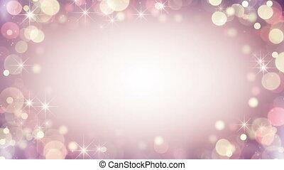 Gentle pink frame of bokeh lights. Seamless loop background