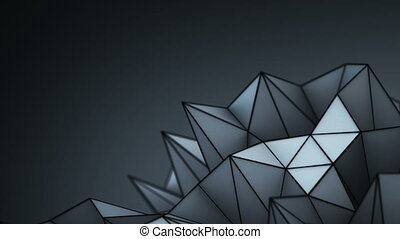 Abstract polygonal black shape loopable 3D render animation