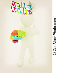 3d people - man with half head, brain and trumb up. ?omposer...