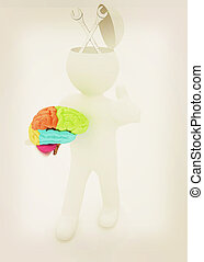 3d people - man with half head, brain and trumb up Service...