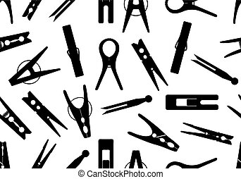 Seamless clothespin background isolated on white