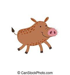 Smiling Wild Boar Running