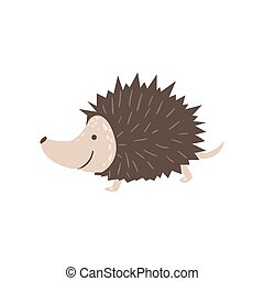Smiling Hedgehog Running Stylized Cute Childish Flat Vector...