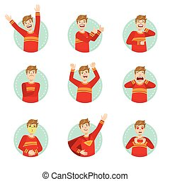 Emotion Body Language Illustration Set With Guy...