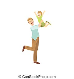Father Throwing The Son In The Air