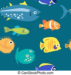 Seamless background with multi-colored cute marine fish -...