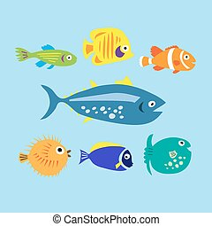 Set of cute cartoon colored marine fishes - Set of a cute...