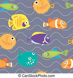Seamless background with cute marine fish on the waves -...