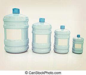 water bottles 3D illustration Vintage style