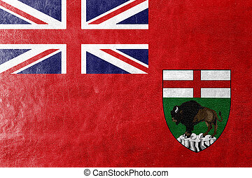 Flag of Manitoba Province, Canada, painted on leather...