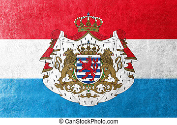 Flag of Luxembourg with Coat of Arms, painted on leather...