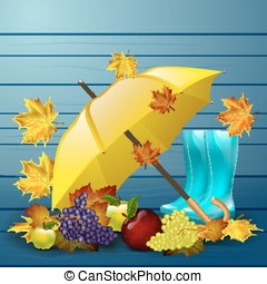 Autumn vector background with leaves, yellow umbrella, blue rubber boots and fruits.