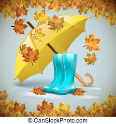 Autumn vector background with  leaves  yellow umbrella and rubber boots.