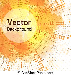 Vector autumn background with halftone pattern, watercolor...