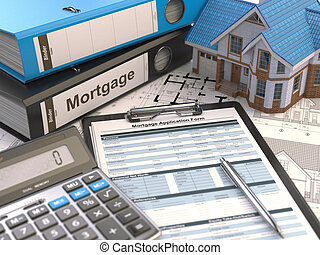 Mortgage application form, house, calculator and binders, 3d...