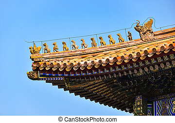 Roof of the Hall of Supreme Harmony, at the Forbidden City,...