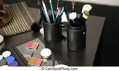 Accessories for make-up prepared for a work.
