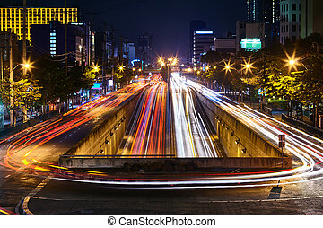 car light trails on long exposure at night