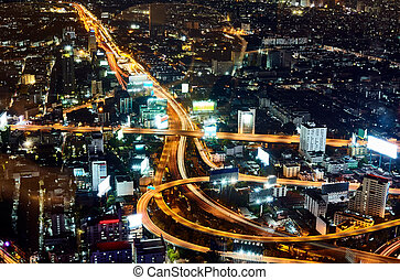 Multi level stack interchange in bangkok. Aerial view