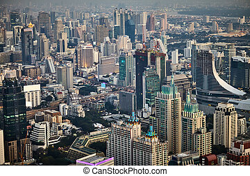 Bangkok cityscape in the business district Top view